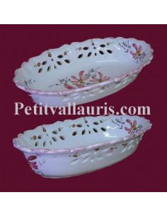 Corbeille à fruit ou à pain ovale décor ajouré fleur rose