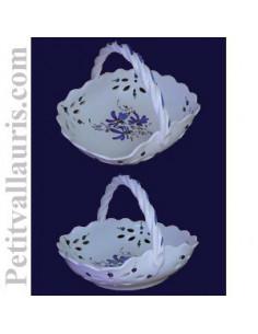 Panier ajouré de style décor fleuri bleu D26 cm