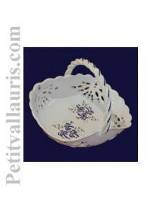 Panier ajouré de style décor fleuri bleu D30 cm