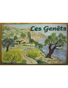 Plaque de Villa rectangle décor personnalisé côte varoise inscription personnalisée verte