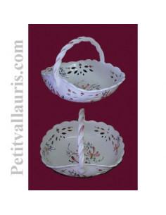Panier ajouré de style décor fleuri rose D30 cm