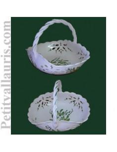 Panier ajouré de style décor fleuri vert D30 cm
