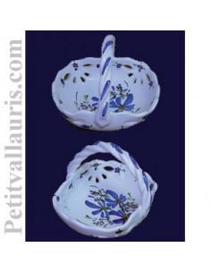 Panier coupelle ajourée de style décor fleuri bleu
