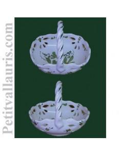 Panier coupelle ajourée de style décor fleuri vert