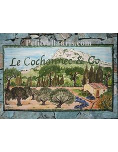 Plaque de Villa rectangle décor personnalisé le coudon face-est inscription personnalisée verte