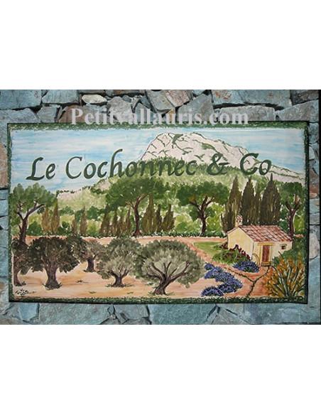 Plaque de Maison rectangle en céramique émaillée décor artisanal motif Mont-Coudon face-est + inscription personnalisée