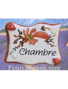 """Plaque de porte parchemin rouge coquelicot """"Chambre"""""""