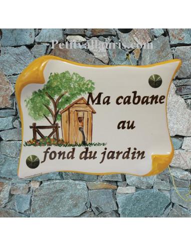 Plaque de maison parchemin d cor personnalis la cabane au for Cabane au fond du jardin