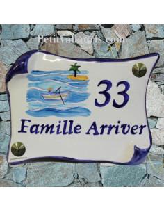 Plaque de Maison parchemin décor personnalisé exotique n°4 inscription bleu