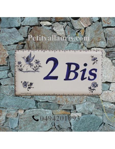 Plaque de maison faience émaillée motif tradition oiseau bleu inscription personnalisée bleue