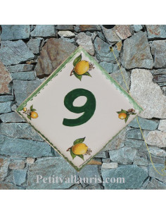 Plaque numéro de maison décor les citrons pose diagonale