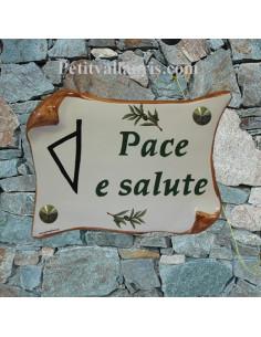 Plaque de Maison parchemin décor ile de la corse stylisée inscription personnalisée verte bord ocre