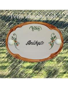 Plaque de porte décor arabesque inscription personnalisée