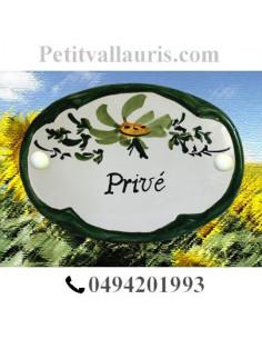 "Plaque de porte Ovale fleur verte inscription ""Privé"""