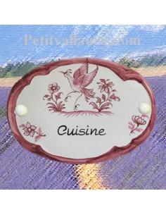 Plaque ovale inscription cuisine décor tradition vieux moustiers rose