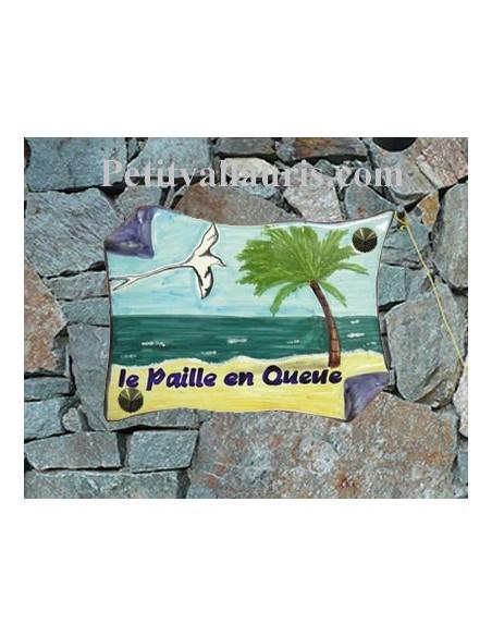 Plaque de Maison en faience modèle parchemin motif artisanal oiseau et paysage exotique + inscription personnalisée