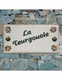 Plaque de maison faience émaillée décor fleurs tradition vieux moustiers polychrome inscription personnalisée verte