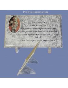 Plaque funéraire en céramique fond gris texte noir avec médaillon ange