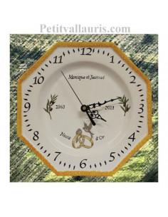Horloge modèle octogonale anniversaire de mariage décor brins d'olivier