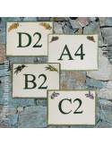 plaque de signalisation céramique décor semis provençal inscription lettre et chiffre