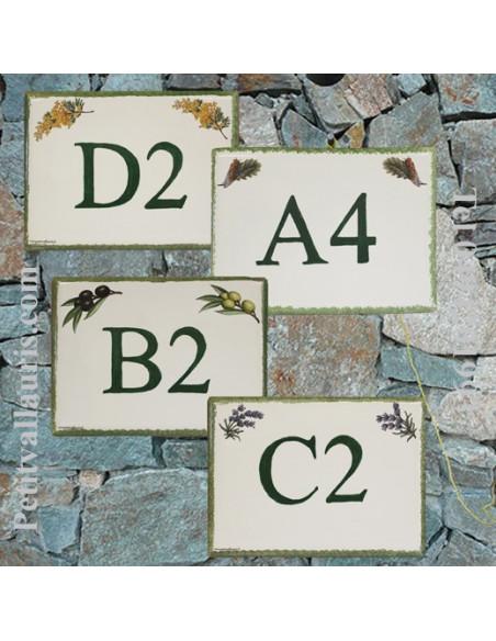 plaque de signalisation en céramique décor semis provençal inscription personnalisée lettre et (ou) chiffre