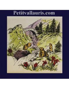Carreau décor Marmottes et cascade en montagne 10 x 10 cm