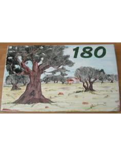 Plaque de Villa rectangle décor personnalisé paysage champs oliviers inscription personnalisée verte