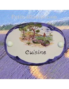 Plaque de porte ovale inscription cuisine motif calanque bord bleu