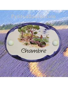 Plaque de porte ovale inscription chambre motif calanque bord bleu