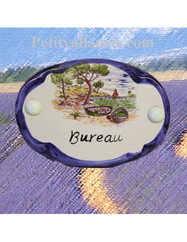 Plaque de porte ovale inscription bureau motif calanque bord bleu le petit vallauris - Plaque de porte de bureau ...
