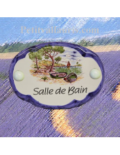 Plaque de porte ovale inscription salle de bain motif calanque bord bleu