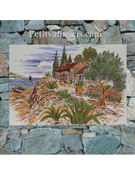 Petite Fresque murale en faience blanche décor calanque,cabanon et olivier