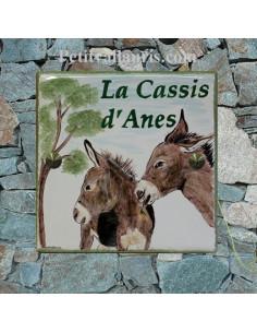 Plaque texte et décor personnalisé pour votre maison décor couple ânes texte vert