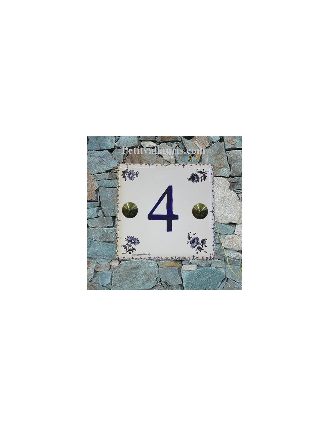 plaque en faience d cor fleurs moustiers bleues avec. Black Bedroom Furniture Sets. Home Design Ideas