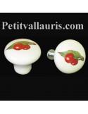 Bouton de tiroir meuble décor Cerises (diamètre 30 mm)