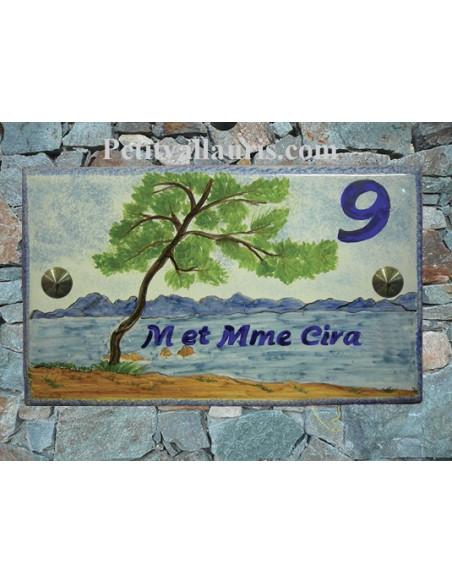 Plaque de Maison rectangle en céramique émaillée décor artisanal motif paysage massif de l'esterel + inscription personnalisée