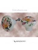 Bouton de tiroir pour meuble décor fleurs saumon-beige (diamètre 42 mm)