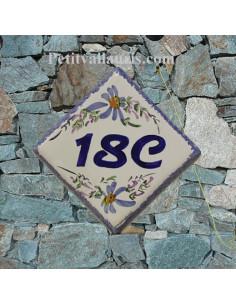 Plaque pour maison numéro de rue décor Fleuri bleu nombre 18C