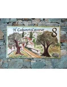 Plaque de Villa rectangle décor personnalisé bastide en pierre et 2 oliviers inscription personnalisée noire
