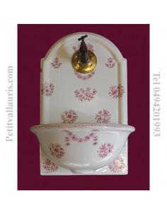 Fontaine murale décor Tradition fleurs Vieux Moustiers polychrome rose taille 1