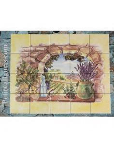 Fresque faïence Trompe L'oeil vertical vue sur champs sur fond jaune