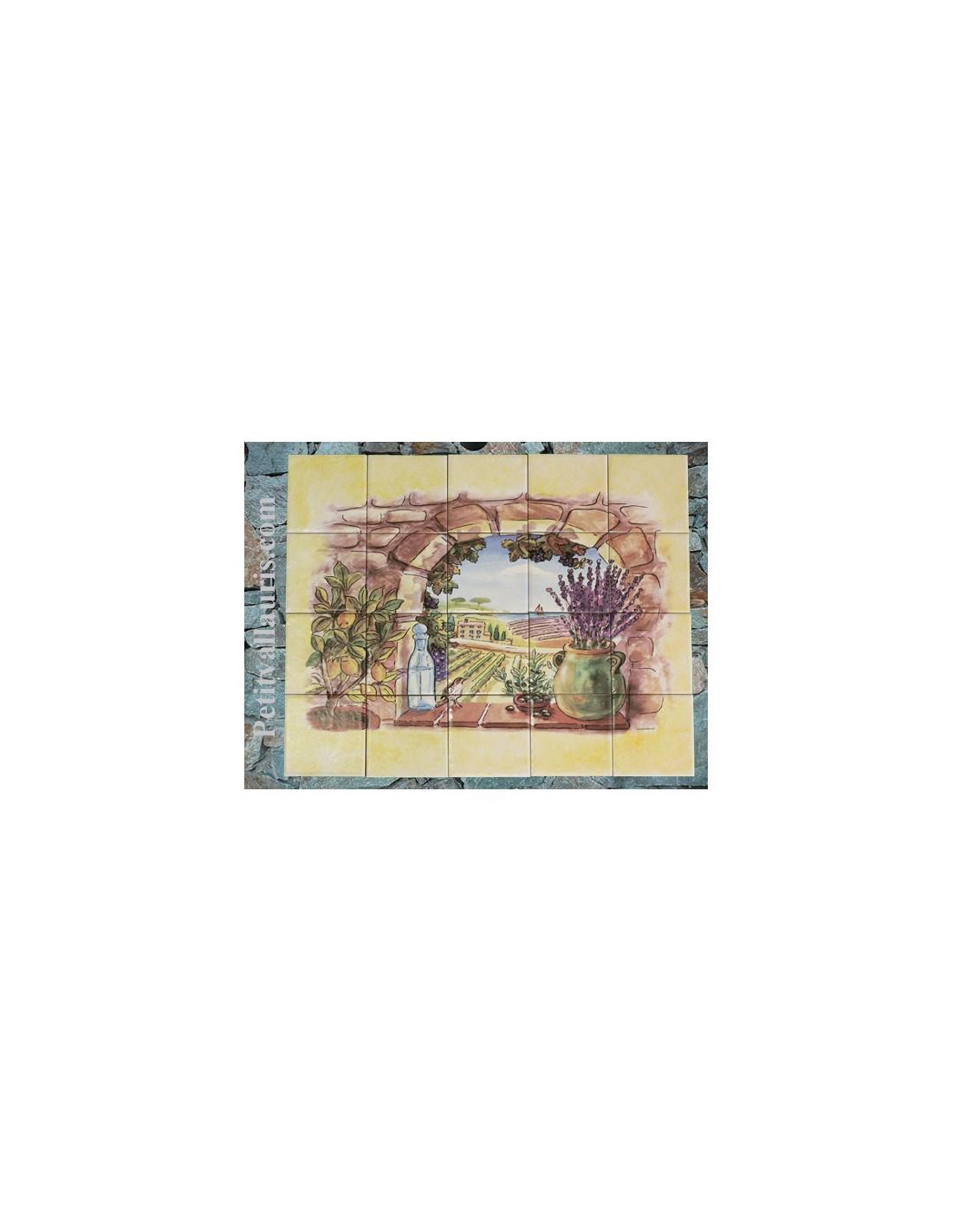 Fresque fa ence trompe l 39 oeil horizontale vue sur champs for Faience murale ancienne