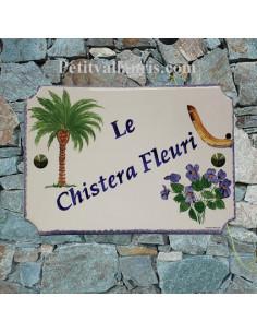 Plaque de maison décor Palmier-Chistera-Violettes
