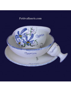 Set de naissance 4 pièces personnalisé décor fleur bleue
