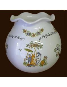 Vase Boule dentelle en ceramique décor Tradition Vieux Moustiers