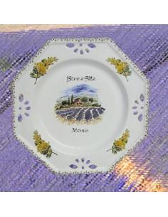 Assiette d'anniversaire ajourée décor Mimosas avec inscription