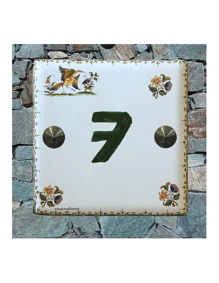 Numéro de Maison pose horizontale décor tradition vieux moustiers chiffre vert