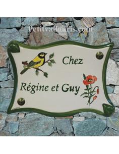 Plaque pour villa parchemin en céramique décor Mésanges et coquelicots