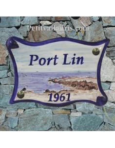 Plaque de maison en céramique décor rochers côte Océan Atlantique