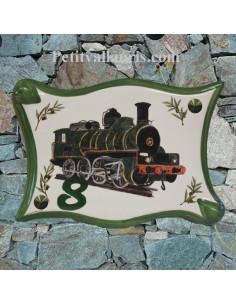 Plaque de maison en céramique décor personnalisé Locomotive